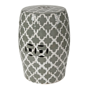 AB-69634  Finley Indoor/Outdoor Patterned Stool,Gray/ White