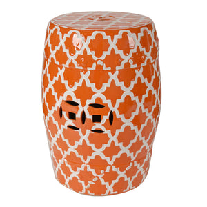AB-69634  Finley Indoor/Outdoor Patterned Stool, Orange/White
