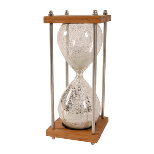 AB-75095-WHITE HOUR GLASS IN STAND  (Approx. 30 MIN.)