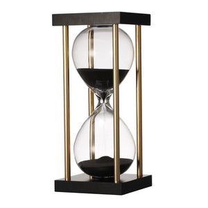 AB-75731-BLACK HOURGLASS IN STAND,BLACK (APPROX.15 MIN)