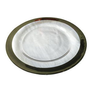 AB-75836-SILV GLASS CHARGER,WIDE SILVER BANDED RIM