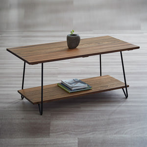 Solid Wild Almond Wood Two Tier Coffee Table (WIL-8115)