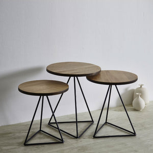 TRIANGLE Solid Wild Almond Wood Round 3-Piece Nesting Table Set (WIL-8117)