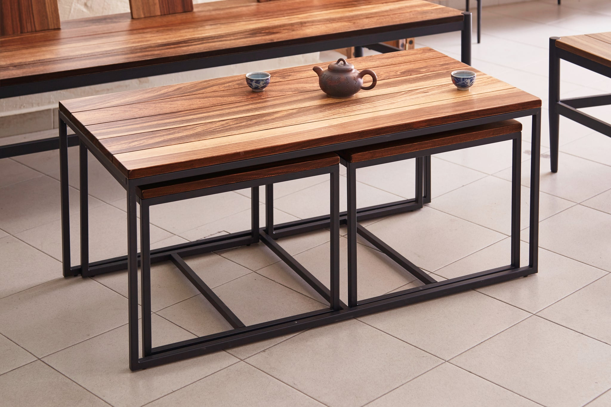 Solid Wild Almond Wood 3 Piece Coffee Table Set Wil 8118