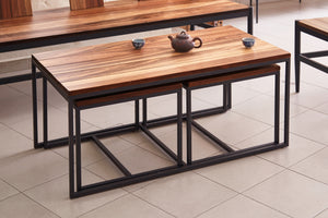 Manolo Bossi Solid Wild Almond Wood 3-piece Coffee Table Set - Picket&Rail Singapore's Premium Furniture Retailer