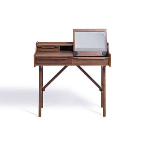 MARILYN 4-Drawer Study/Vanity/Writing Desk Table with Folding Mirror in American Walnut (MCS-AT16651-A.WAL)