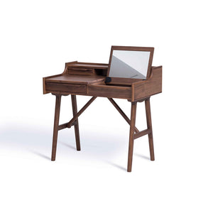 MARILYN 4-Drawer Study/Vanity/Writing Desk Table with Folding Mirror in Beech Stained in Walnut (MCS-AT16651-BEECH/WAL)