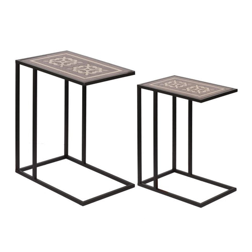Accent Furniture - Set of 2 Raj Brass Inlaid Nesting Tables (AV43665)
