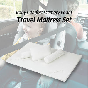 Baby Comfort Memory Foam Travel Mattress Set Size: 28X41X1.2' C/W 2 Bolsters & 1 Pillow