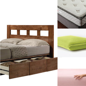 ASHTON Solid Wood Queen Platform Storage Bed