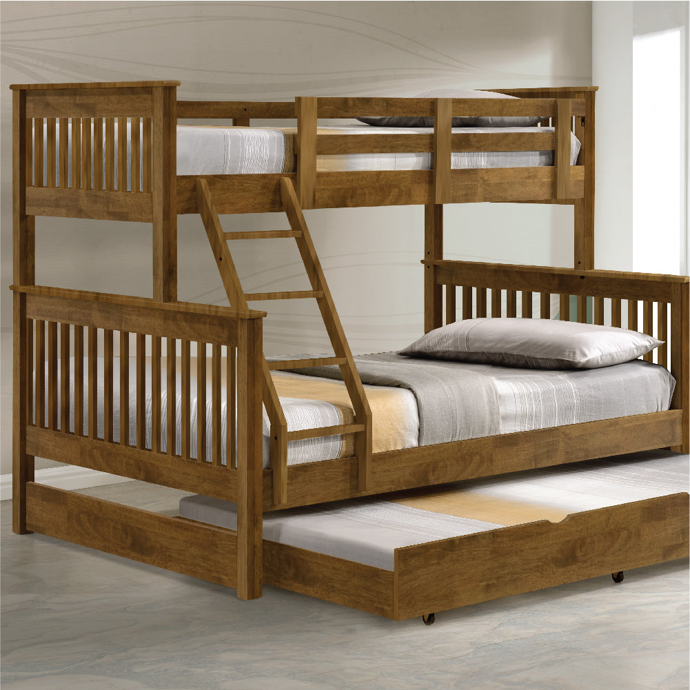Americana Solid Wood Triple Bunk Bed With Trundle Picket Rail