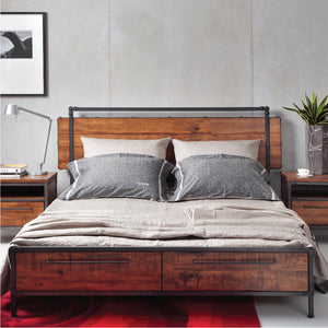 CHICAGO Solid Wood Queen Bed with Drawers - Picket&Rail Singapore's Premium Furniture Retailer