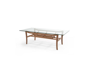 Glass-Top Wooden Coffee Table (CT15006A) - Picket&Rail Singapore's Premium Furniture Retailer