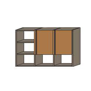 NORYA Three-Door Hanging Cabinet with Grey Carcass in American Black Walnut KCE3302