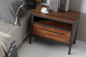 Chicago 1 Drawer Bedside Table - Picket&Rail Singapore's Premium Furniture Retailer