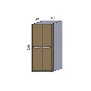 NORYA Two-Door Wardrobe in European Dark Oak TAW20901