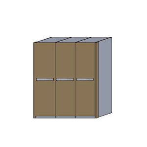 NORYA Three-Door Wardrobe in European Dark Oak TAW3A1801