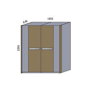 NORYA Four-Door Wardrobe in European Dark Oak TAW4A1804