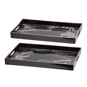 AB-DF43576 S/2 Effra Rectangular Trays,Blue Marbled - Black
