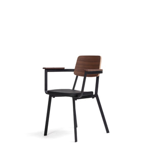 SPRINT Dining Armchair in Black PU Seat + American Walnut Back + Black Matt Powdercoated Steel Frame (MCS-GC17719D)