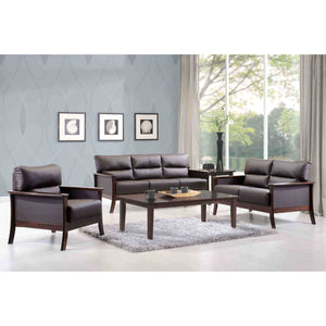 DAVIS 3-Seater Solid Wood Frame Leather-Upholstered Sofa