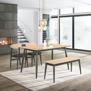 FLORIDA 1.4m Solid Wood Dining Table + 2 Dining Chairs + 1 Bench