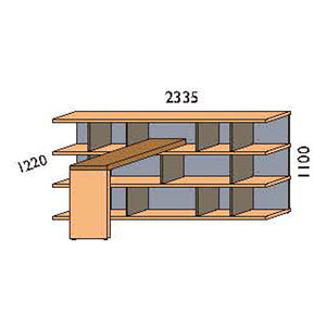 NORYA Bookcase With Lap (2.3m) KCF3601D - Picket&Rail