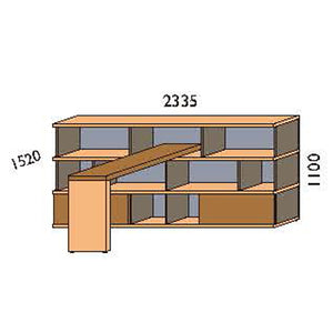 NORYA Bookcase With Lap (2.3m) KCF3602D