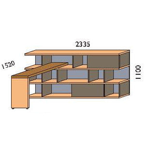 NORYA Bookcase With Lap (2.3m) KCF3603D