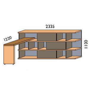 NORYA Bookcase With Lap (2.3m) KCF3604D - Picket&Rail