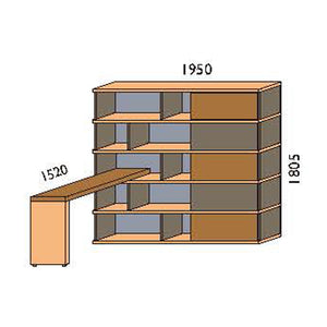 NORYA Bookcase With Lap (1.9m) KCF5502D