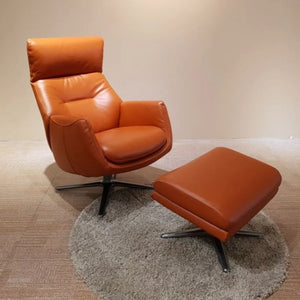 KUKA #KF.A001 Full Top Grain Leather Lounge Chair with Ottoman  ( M Series ) (I)