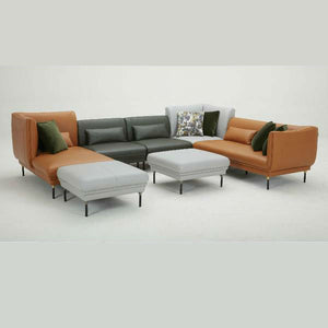 KUKA #KF.039 Half Top grain Leather Sofa (1.5/Corner-Seater, Chaise Lounge)( O Series )(I)