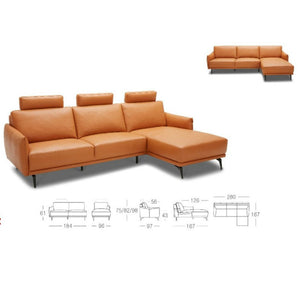 KUKA #KF.036 Full Top Grain Leather Sofa (3+CL , Chaise Lounge)( M Series ) (I)