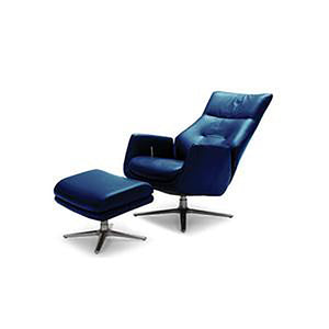 KUKA #KF.A001 Full Top Grain Leather Lounge Chair with Ottoman  ( O/NL Series ) (I)