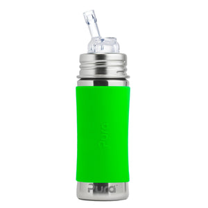 Pura 325ml Feeding Bottle Drinking Straw & Sleeve - Green PR325NSW/G