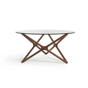 Sean Dix Tempered Glasstop Triple-X Round Table (SD15221) - Picket&Rail Singapore's Premium Furniture Retailer