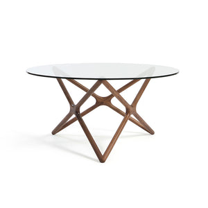 TRIPLE-X 1.5m Round Glasstop Dining Table in Beech Stained in Walnut (MCS-SD15221B-WAL)