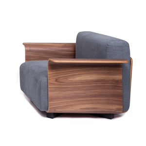 PLY 1-Seater Sofa in American Walnut + Medium Grey Ray1003 Fabric (MCS-SD15234A-WAL-R1003)