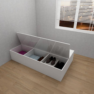 Customized 6-Door Tatami Storage Single Bed - White **STARBUY**