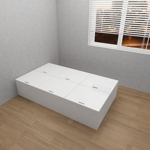 STARBUY - High Hygiene Anti-Microbial Tatami Storage Super Single Bed - White