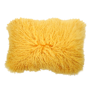 AB-T40186 Lamb Fur Rectangular Pillow - Yellow