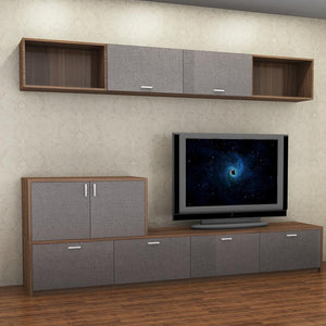 Customized 2.0m - 2.5m TV Wall Entertainment Set - Walnut **STARBUY**