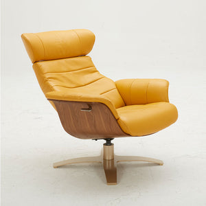 KUKA #A928 Full Top Grain Leather Lounge Chair with Ottoman (Color: NL5118)