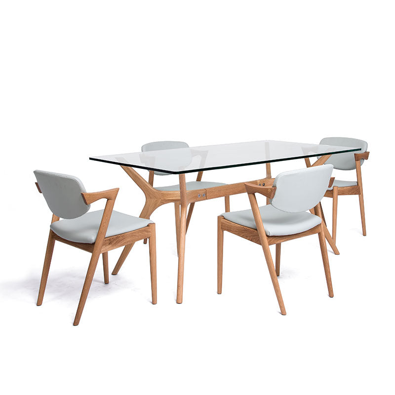 JORDAN 1.6m Glasstop Dining Table in American White Oak (MCS-DT18302B-OAK)