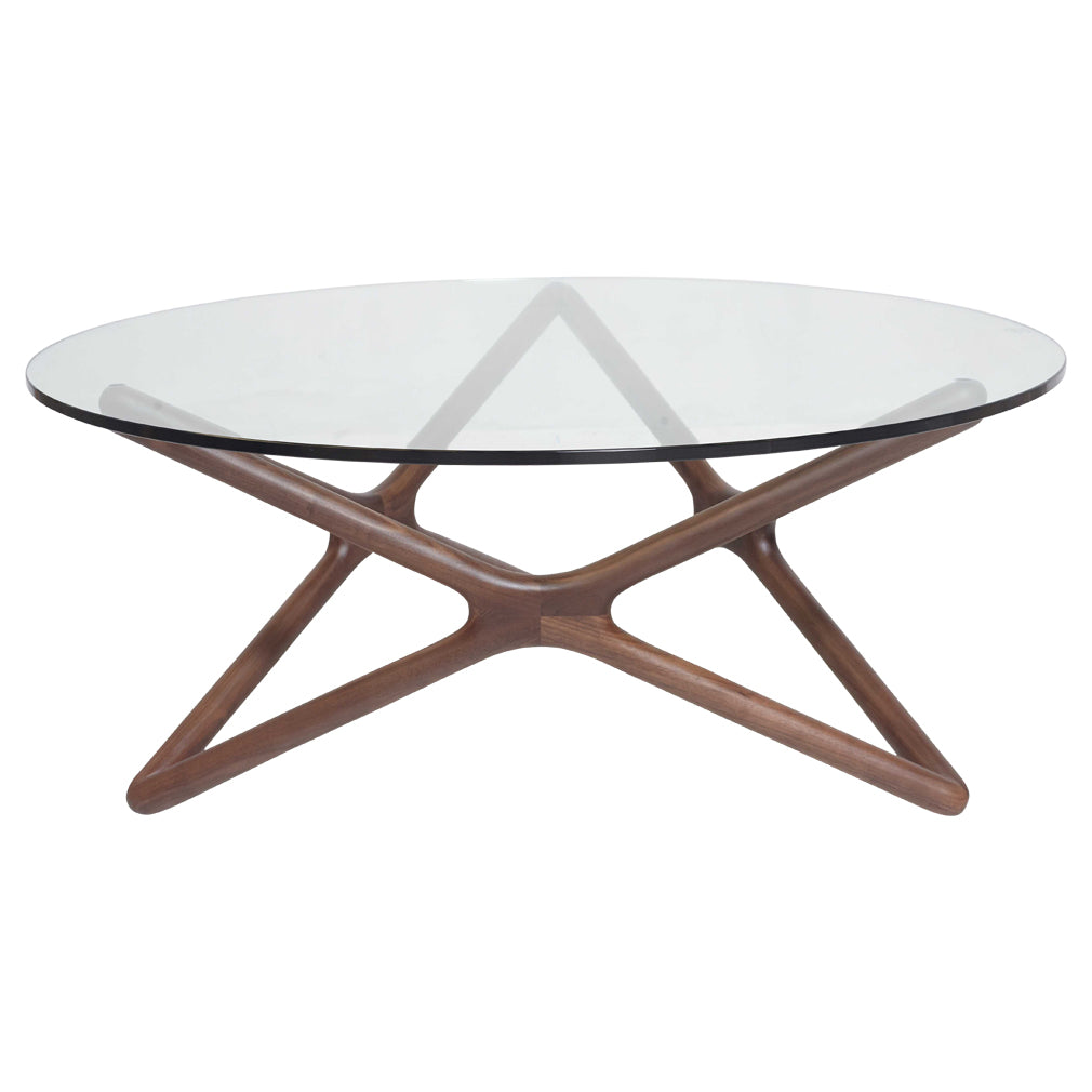 - TRIPLE-X 1.0m Low Round Glasstop Coffee Table In American Walnut