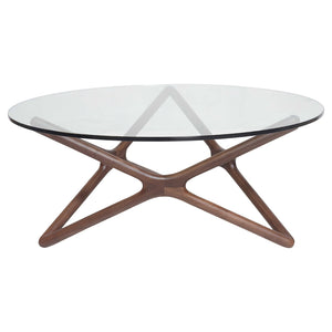 TRIPLE-X 1.0m Low Round Glasstop Coffee Table in American Walnut (MCS-SD9153A-WAL) - Picket&Rail