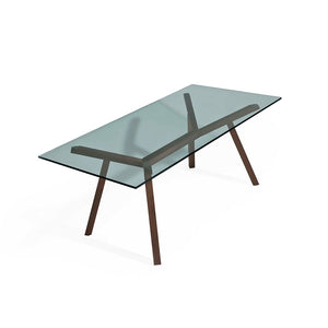 FORTE 1.8m Glasstop Dining Table in American Walnut (MCS-SD9135A-WAL-1800)