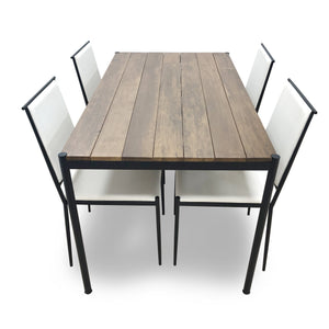 Hiro Solid Wood Dining Set with Upholstered Seats - Picket&Rail Singapore's Premium Furniture Retailer