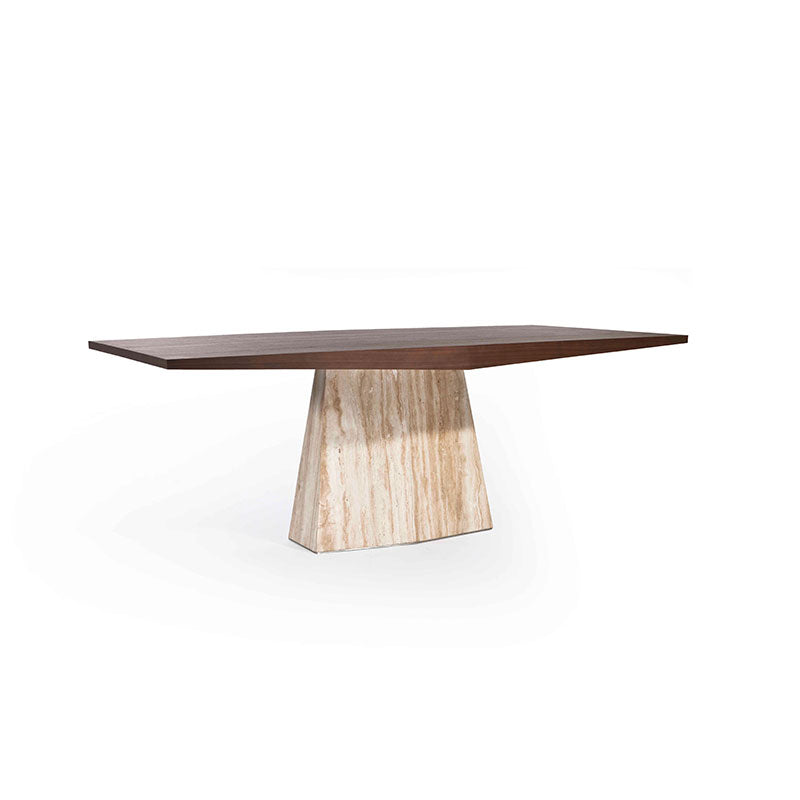 ITALO 2.0m Dining Table in HPL American Walnut Top + Silver Travertine Marble Base (MCS-SD9298)